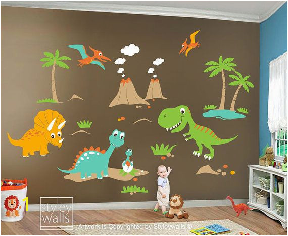 Children Wall Decals Dino Land Dinosaurs Wall decal by styleywalls $189 00