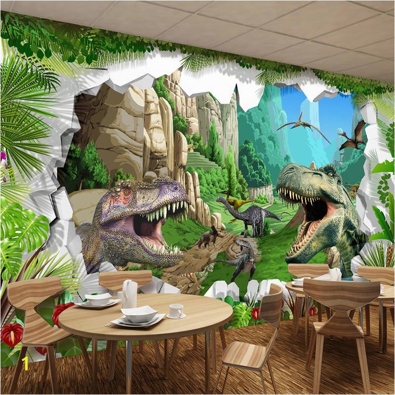 Custom Mural Wallpaper 3D Cartoon Dinosaur Living Room TV Background Wall Mural Children S Room Bedroom Backdrop Wallpaper Widescreen puter