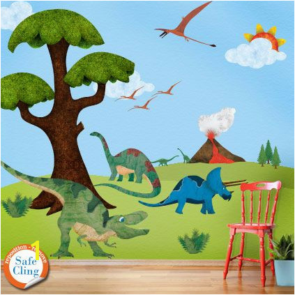This dinosaur wall mural would make such a neat room for a dinosaur loving little one So colorful and big Love it