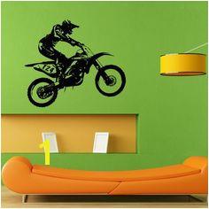 Dirt Bike Racing Biker Extreme Sport Wall Sticker Vinyl Mural Decal Home House Apartment Art Decor FREE SHIPPING L014