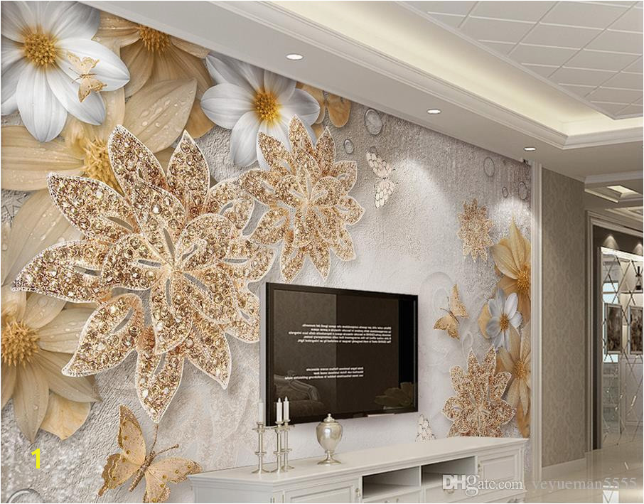 Jewelry Flower Butterfly Mural Wallpaper Modern Bedroom Backdrop Wall Home Decor 3D Landscape Wallpaper Murals Digital Wallpaper Discount Wallpaper