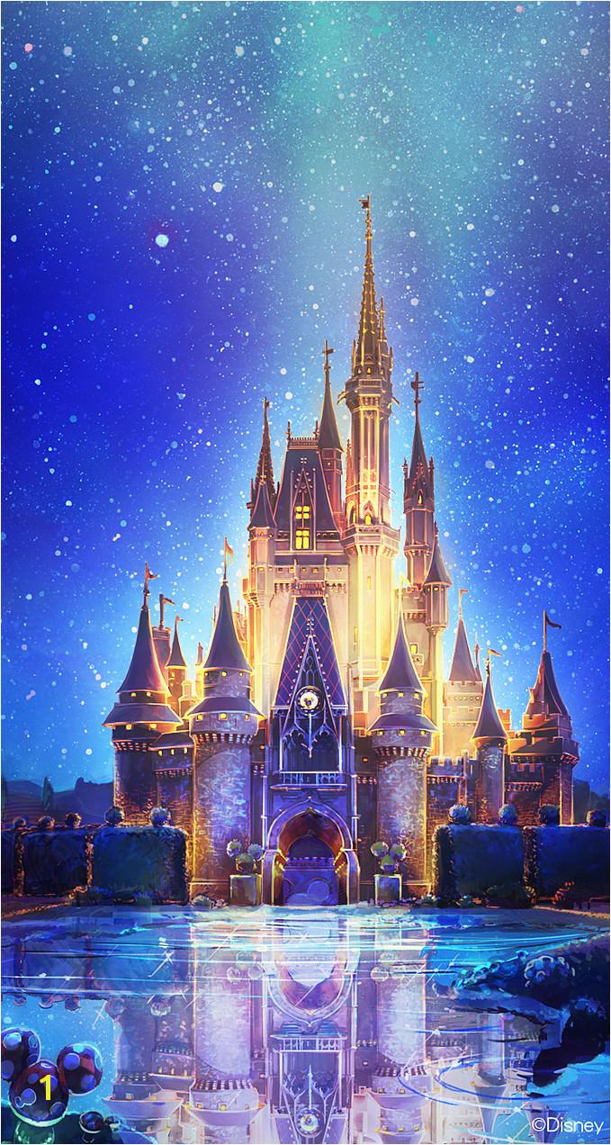 Disney Castle Mural Wallpaper Cinderella Castle ☆ Download More Disney iPhone Wallpapers at