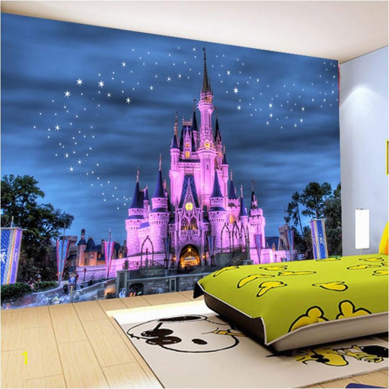 Disney Castle Mural Wallpaper Hd Fantasy Starry Sky Castle 3d Wallpaper Children S Room Restaurant