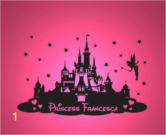 Disney Castle Wall Murals Disney Princess Castle Personalised Wall by thestickerstop