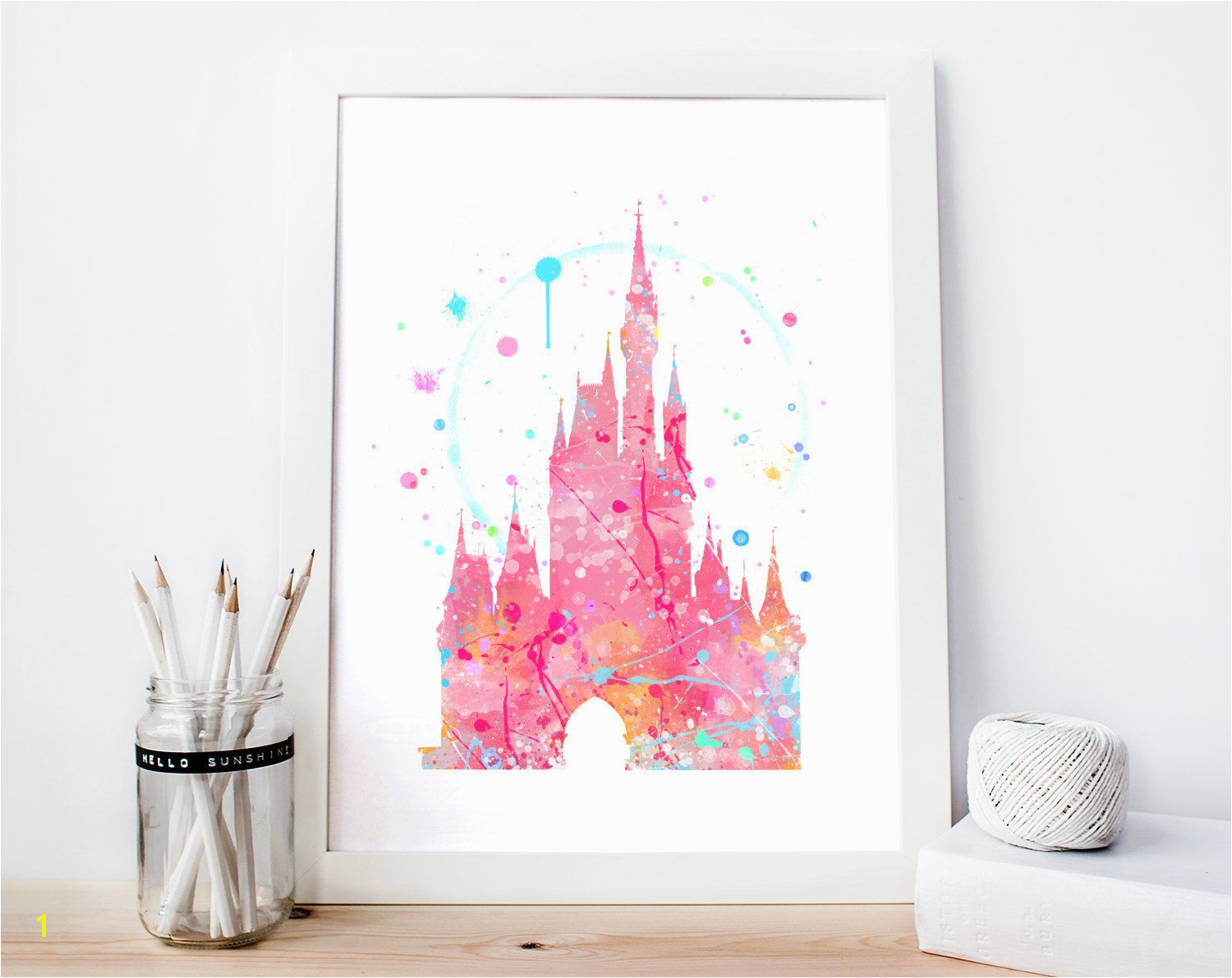 Disney Cinderella s Castle Pink Watercolor Art Print Room Decor Princess Poster Home Baby Nursery Wall Art by Aquartis on Etsy