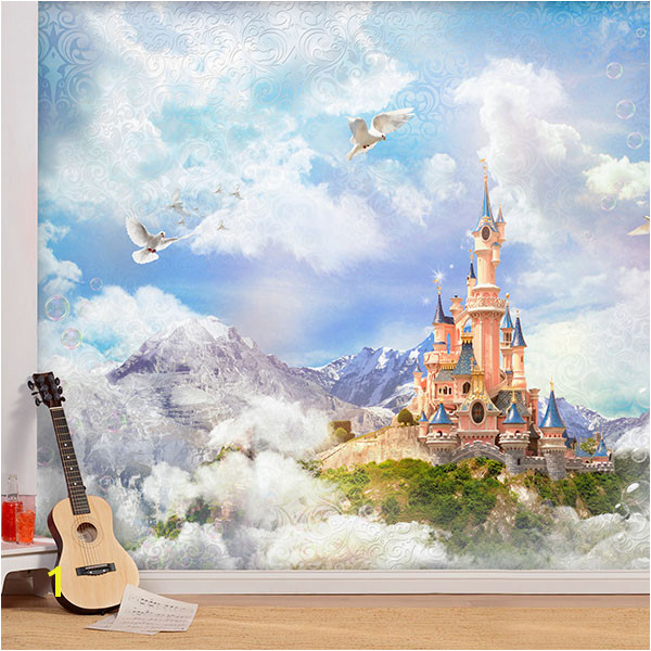 Wall Murals Disney Castle between fog and mountains