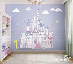 Disney Princess Castle with Colorful Birds and Squirrel Wall Sticker Kids Room Bedroom Playroom Wall Decal Nursery Wall Decal [MT014]