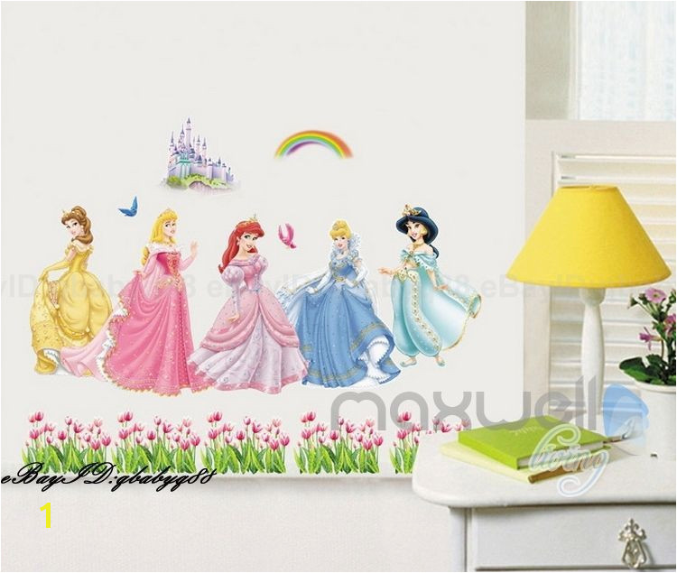 Disney Princess Mural Stickers 5 Disney Princess Castle Rainbow Wall Decal Removable Sticker Kids