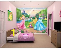 With the Grand castle in the background and all the princesses enjoying themselves in the foreground your little princess with love this wall mural