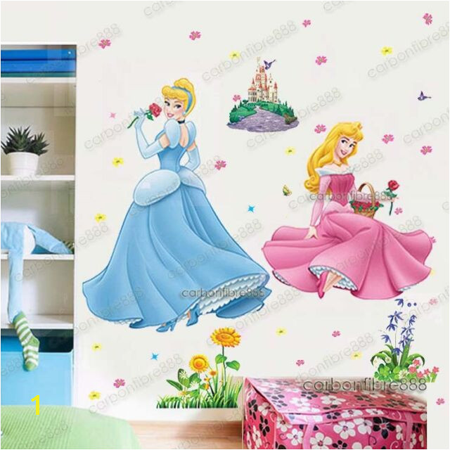 X Disney Princess Wall Stickers Cinderella Aurora Girls Art Decal Decor UK