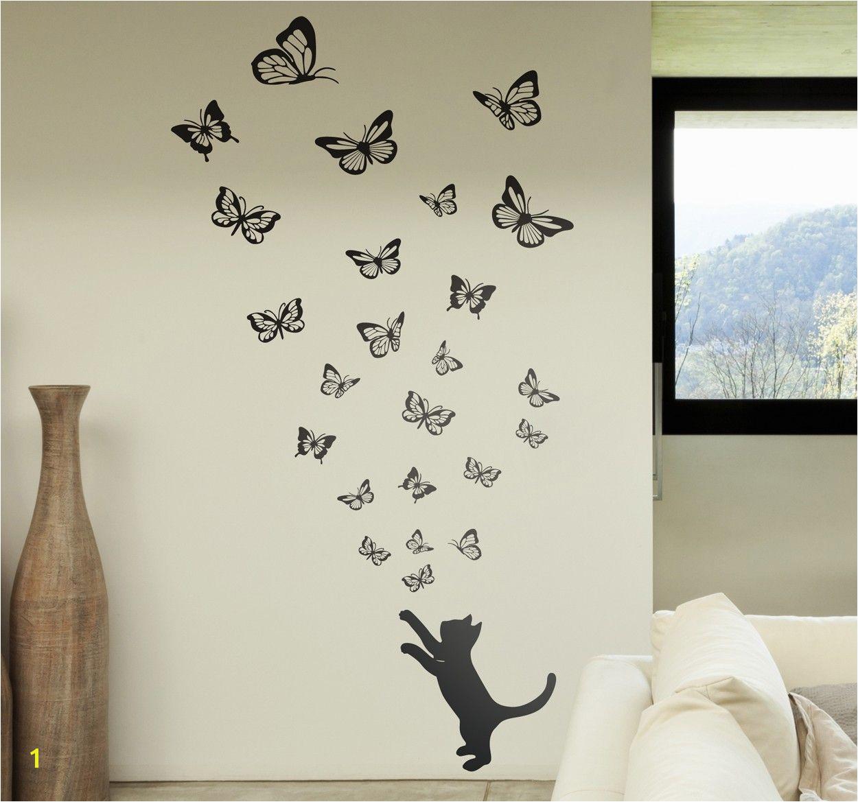 gatto e farfalle stencil da muro Wallpaper Ceiling Ceiling Murals Arte Nas Paredes