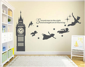 Big Ben Clock Wall Decal Peter Pan Wall Decal Quote Second Star To The Right Vinyl Sticker Nursery Playroom Wall Art