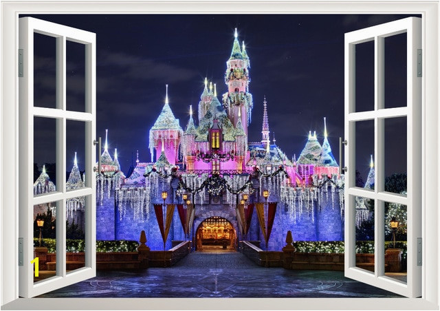 Disneyland Wall Mural 3d Ancient Princess Castle Window View Decal Wall Sticker Home Decor