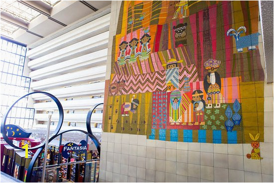 Disney s Contemporary Resort Mural by Mary Blair and view of on site shopping