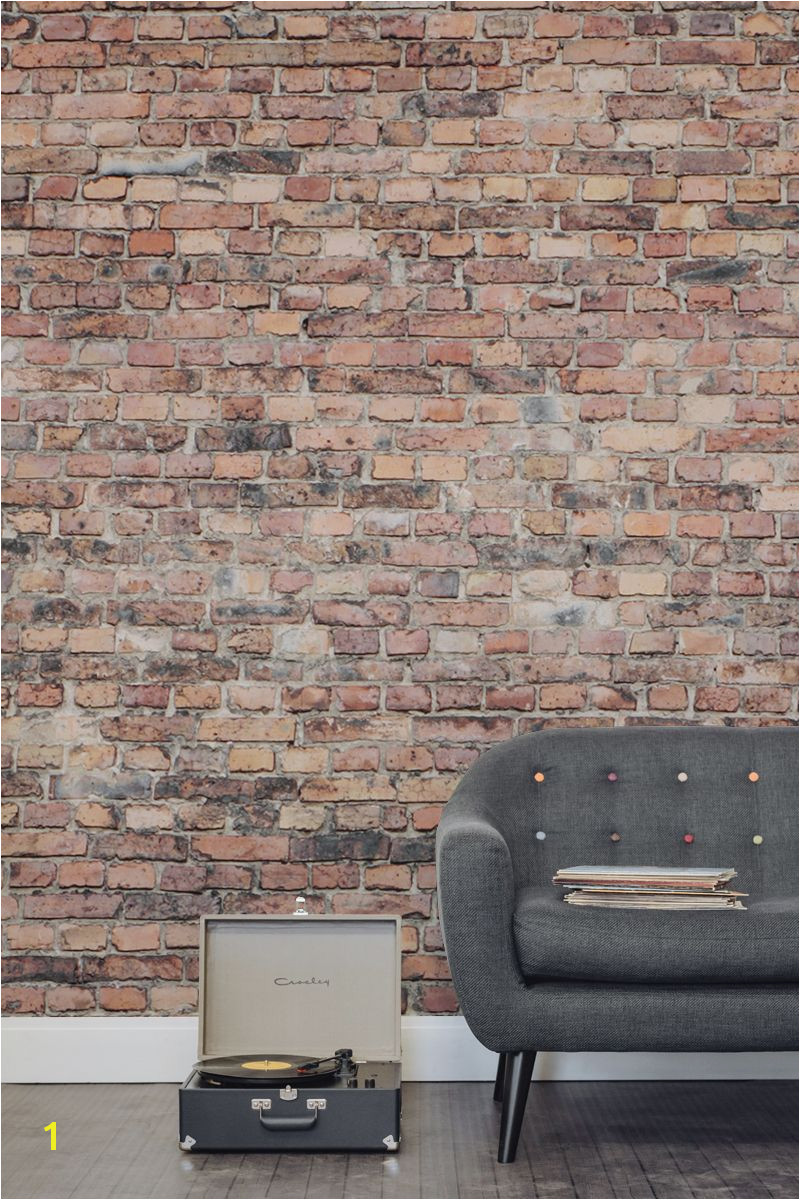 Distressed Brick Wall Mural Black and Red Aged Brick Wall Mural