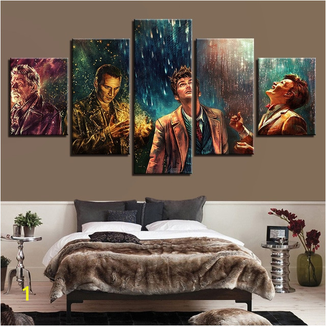 5 Pieces Doctor Who Movie Characters Home Decor Painting Poster for Living Room Bedroom Framed