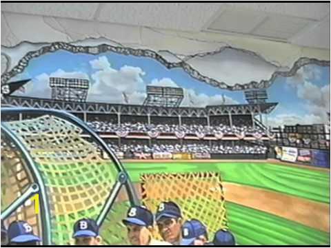 Hand Painted Wall Mural Ebbets Baseball Field by muralist Bonnie Siracusa