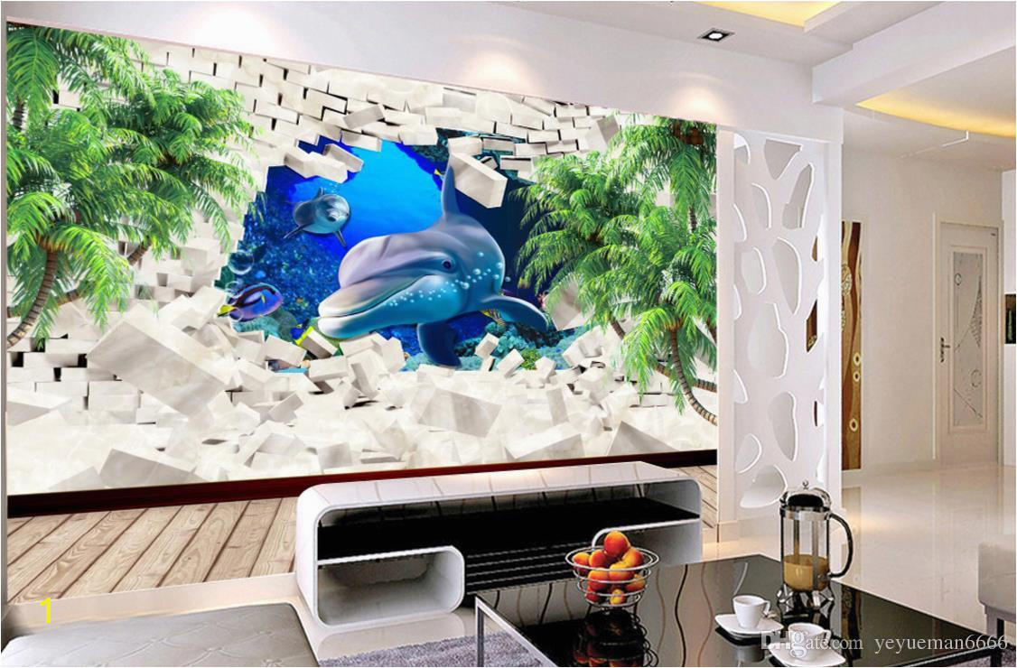 Wallpaper For Walls 3 D Dolphin Coconut Tree Wall Papers Home Decor TV Backdrop Living Room Bedroom Free Animated Wallpaper Free Animated Wallpapers From