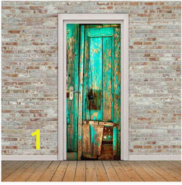 funlife Vintage Home Decor Green Door Wall Sticker Self adhesive Wall Decals DIY Creative Mural Waterproof Bathroom Door Sticker discount wall murals doors