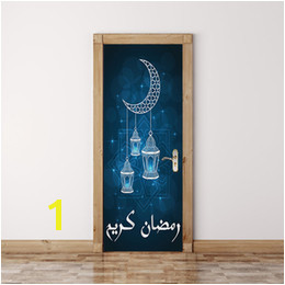 Removable Door Murals UK 77 200cm Beautiful Wishes of the Muslims Moon Oil Painting