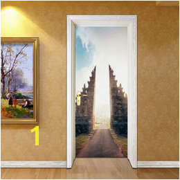 Removable Door Murals UK 2pcs set Building 3D Door Sticker Wall Mural Abstract Art Wallpaper