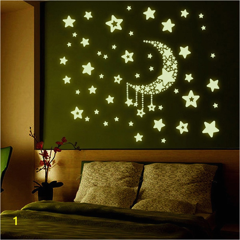 Wall stickers home decor Stars Moon Night Sky Noctilucence glow in the dark for kids rooms Fluorescent Luminous wallpaper in Wall Stickers from Home