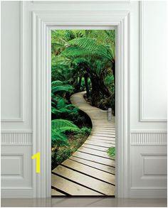 "Door STICKER palm tree path mural decole film self adhesive poster 30""x79"" 77x200 cm"