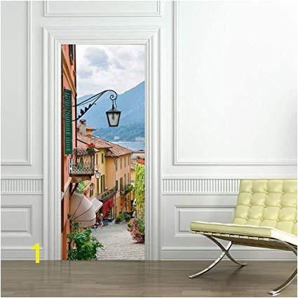 3D Door Murals Wallpaper Wall Stickers Removable Door Stickers Door Murals Decals Self adhesive