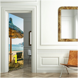 Removable Door Murals UK Beach Umbrellas Wall Decoration Removable Wall Stickers for Living Room PVC
