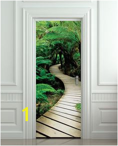 "Door STICKER palm tree path mural decole film self adhesive poster 30x79"" 77x200"