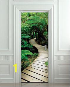 "Door STICKER palm tree path mural decole film self adhesive poster 30x79"" 77x200"