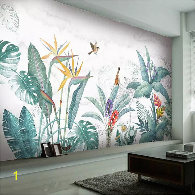 Modern Nordic Hand Painted Tropical Plants Flower Bird Leaf Background Wall Mural Custom Wallpaper For Living Room Bedroom