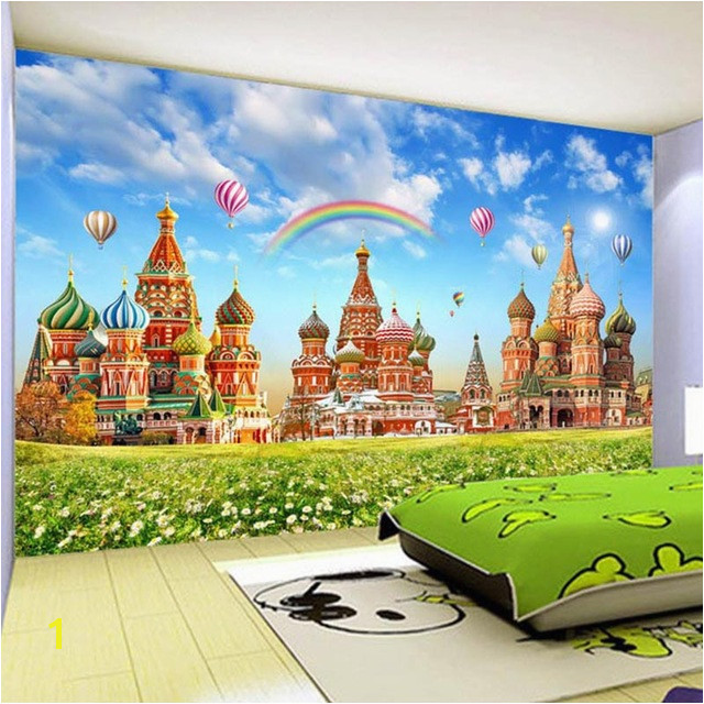Wallpaper HD Children s Room Rainbow Hot Air Balloon Dream Castle 3D Wall Murals Kids Bedroom Backdrop Wall Painting Mural