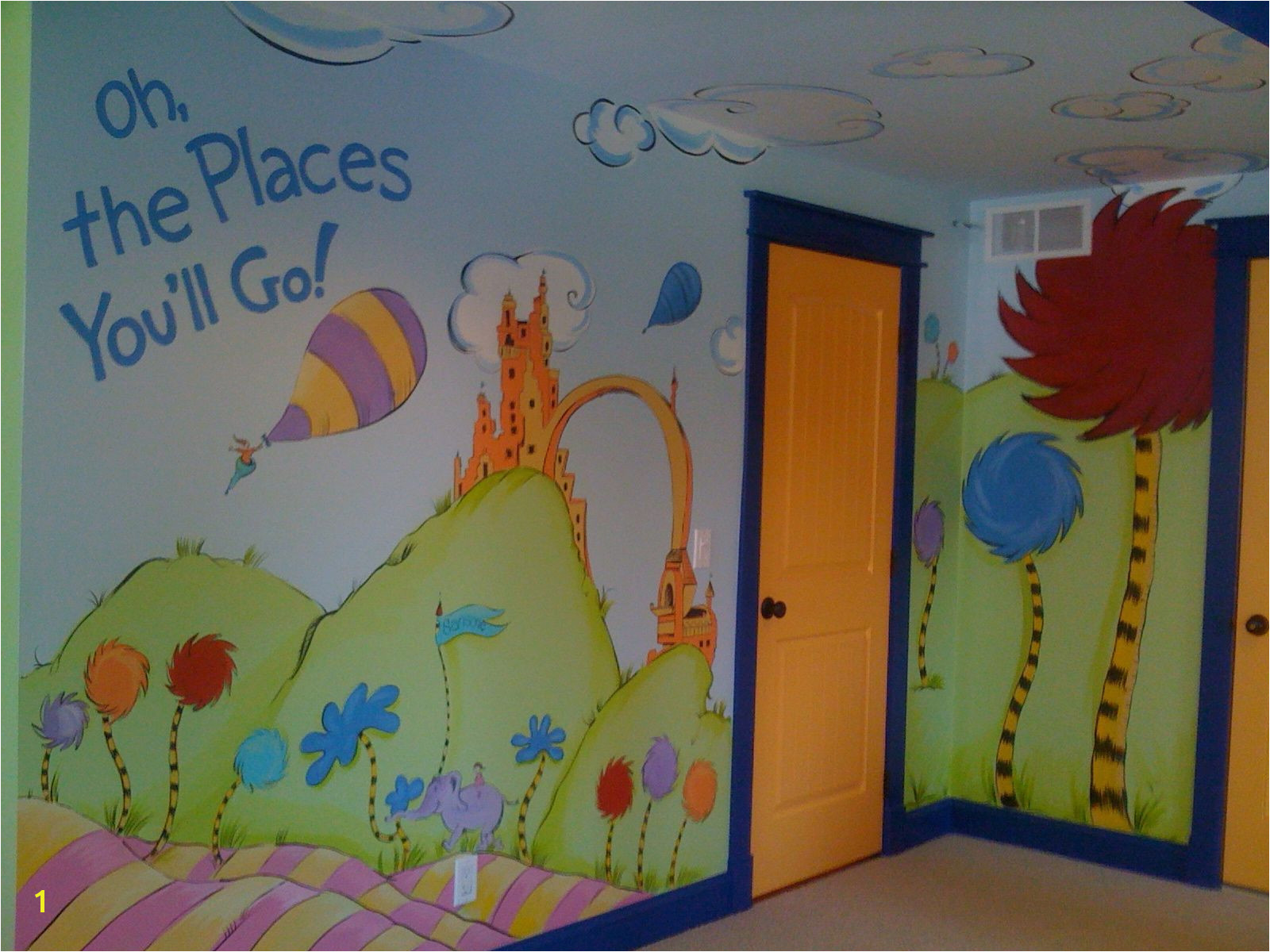 "Dr Seuss Mural ""Oh the Places You ll Go "" Children s playroom mural This bonus room turned into a playful space inspired by the book with life size"