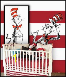 Dr Seuss nursery decorating ideas Cat in the Hat theme bedroom decorating fun Dr