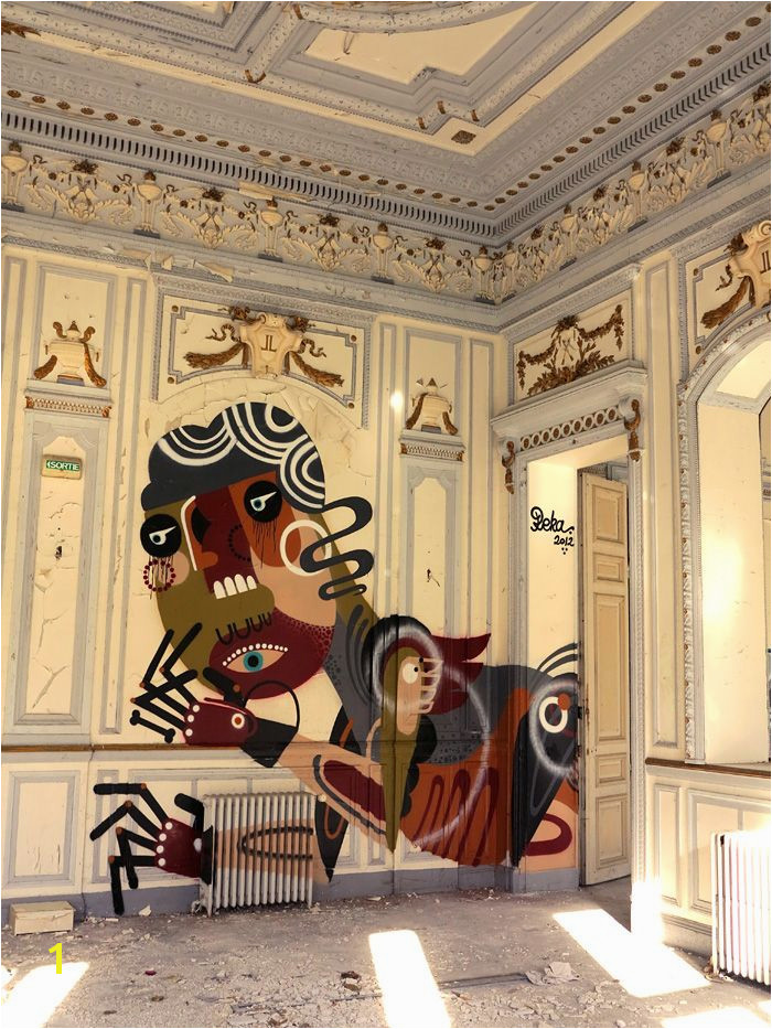 "We like this work by graffiti artist Reka who chanced upon the ideal canvas ""Such a rare opportunity to paint inside an old chateau"