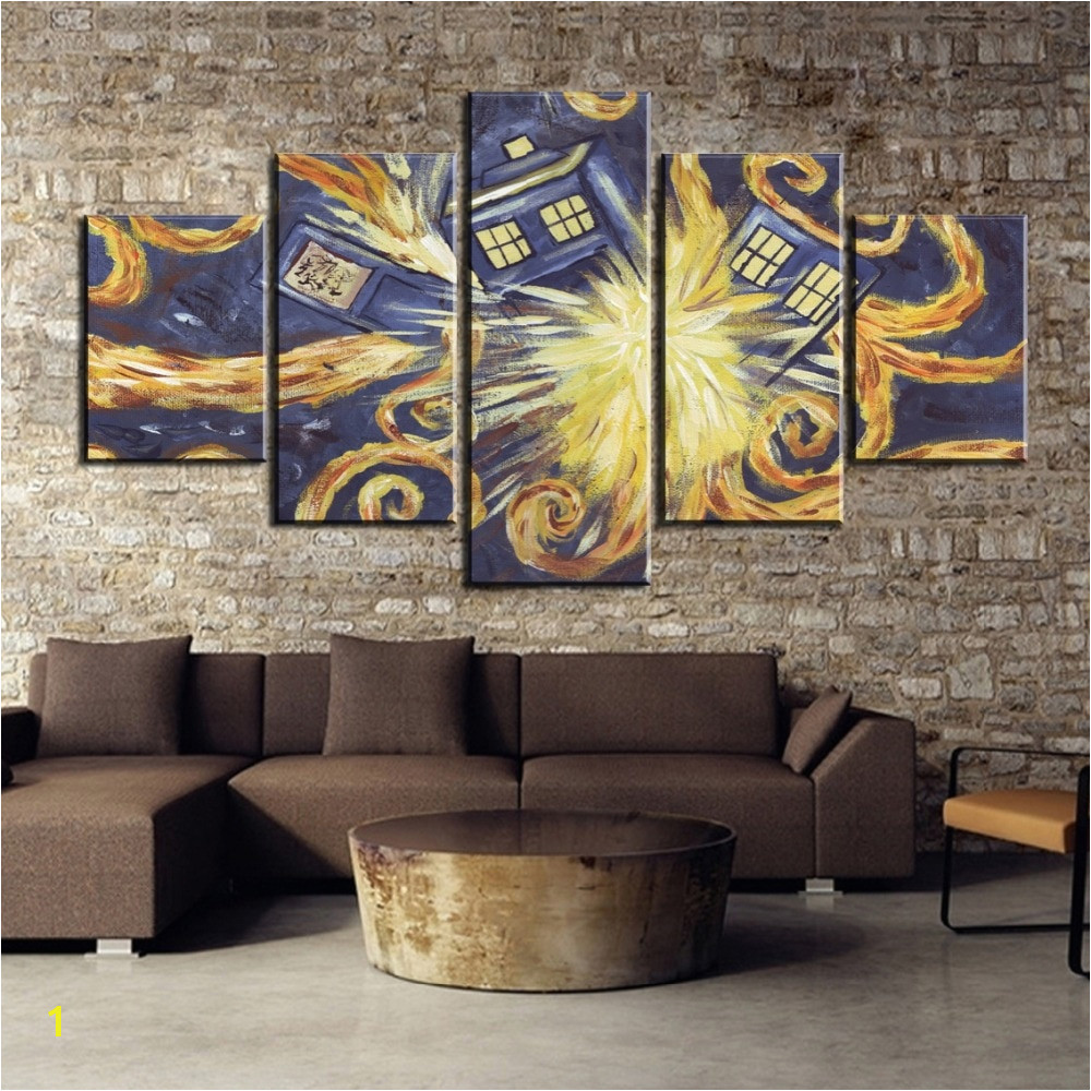 5 Pieces HD Print Painting Doctor Who Van Gogh Painting Canvas Wall Art Picture Home Decoration