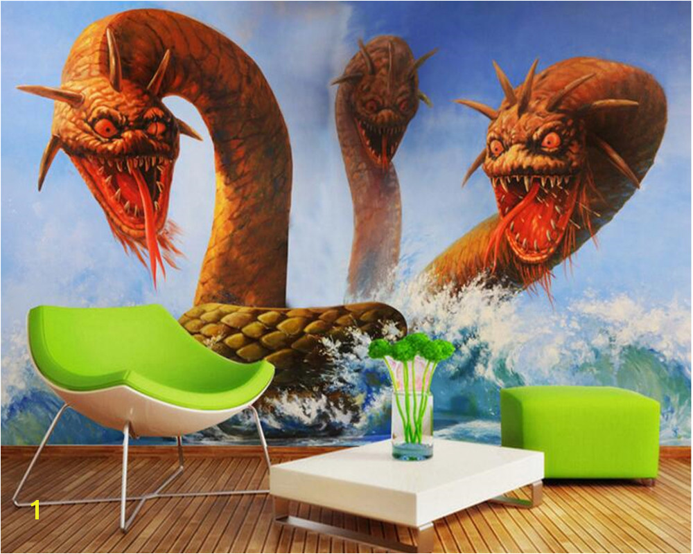 beibehang tapety HD 3d Wallpaper stereo 3 dragon head snake horror TV background wall murals papel de parede wall paper