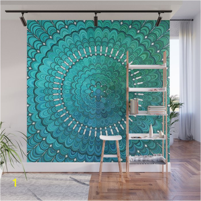 turquoise mandala wall murals