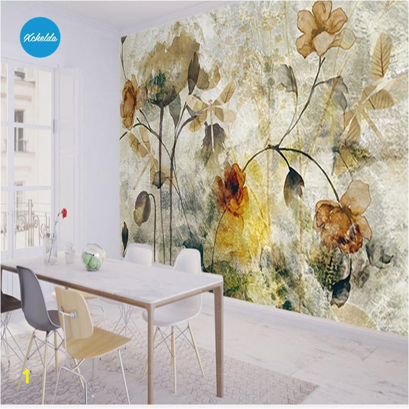 XCHELDA Custom 3D Wallpaper Design Old Texture Flowers Kitchen Bedroom Living Room Wall Mural Papel De Parede Para Quart Paintable Wallpaper Pc