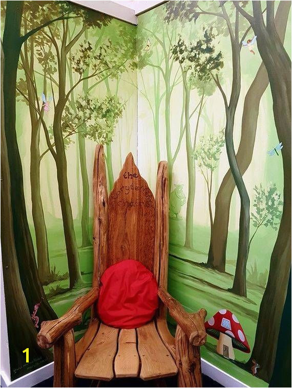 Enchanted Story Forest Mural Hand painted in Grove Park Primary Library