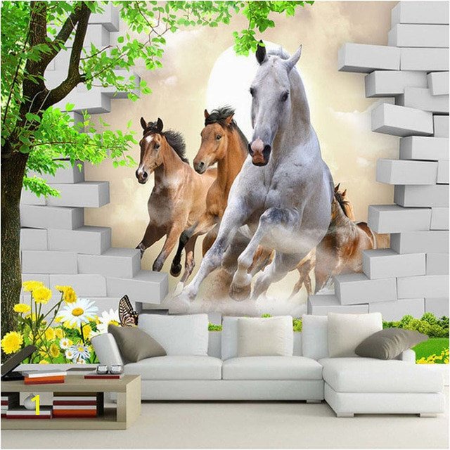 Custom Wallpaper 3D Stereo Horse Broken Wall Mural Brick Wall Paper Living Room TV Background Wall Painting 3D Home Decor