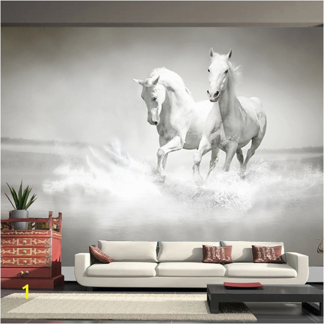 Equestrian Wall Mural Customized Any Size Wall Mural Wallpaper White Horse 3d Embossed