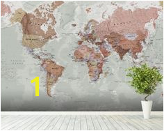 Executive Political World Map wallpaper mural room setting World Map Wallpaper Wall Wallpaper Dining