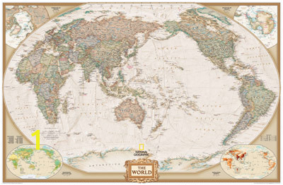 National Geographic World Map Mural Executive Antique Ocean Political