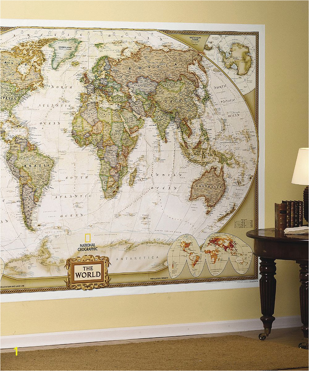 National Geographic World Map Wall Mural World Executive Mural It S Actually Wallpaper I D Love to