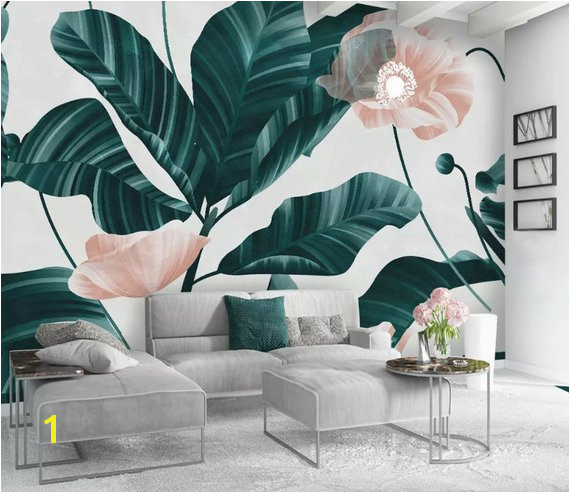 Powder Pink Flower and Leaves Textile Wallpaper Hunter Green Forest Wall Murals for Living Room Bedr