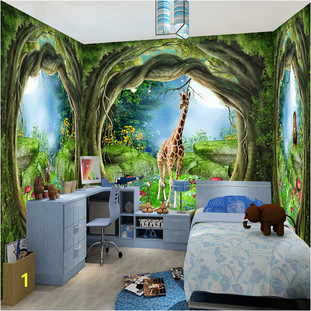 3D Stereo Fantasy Fairy Forest Tree Animal House Theme Murals Wallpaper Children Kids Bedroom Backdrop Wall Painting Papel Mural