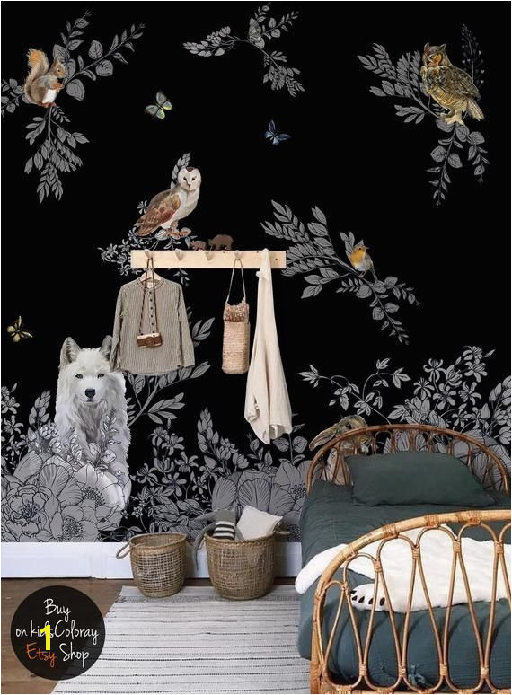 Dark Enchanted Forest wall mural Vintage wild animals wallpaper Peel and stick Fairytale Dark Nursery Black baby room wallpaper 143