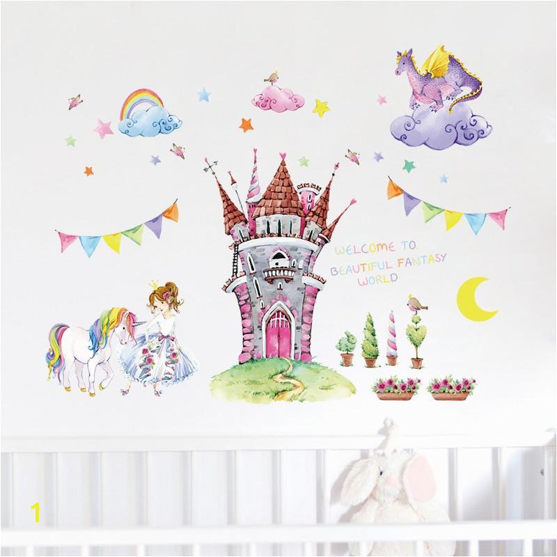Fairytale Castle Wall Mural Fairy Tale World Castle Cartoon Wall Stickers Beautiful Princess